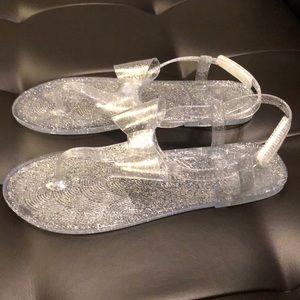 Wonder Nation Big Girl Kid Children Water Silver Jelly Glitter Shoes Sandals 3 4